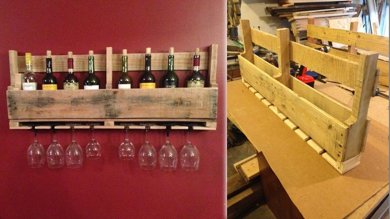 Illustration for article titled Build This Pallet Wine Rack to Store Your Favorite Bottles and Glasses