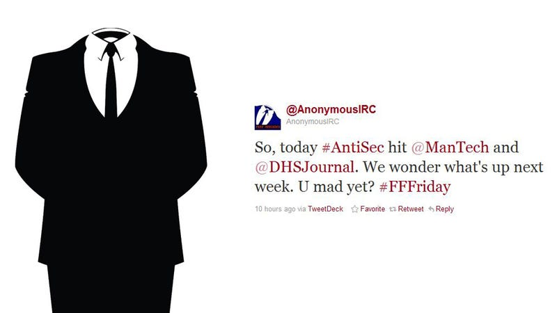 Illustration for article titled Anonymous Fires Back at NATO with FBI Hack, Releases 400MB of Their Data
