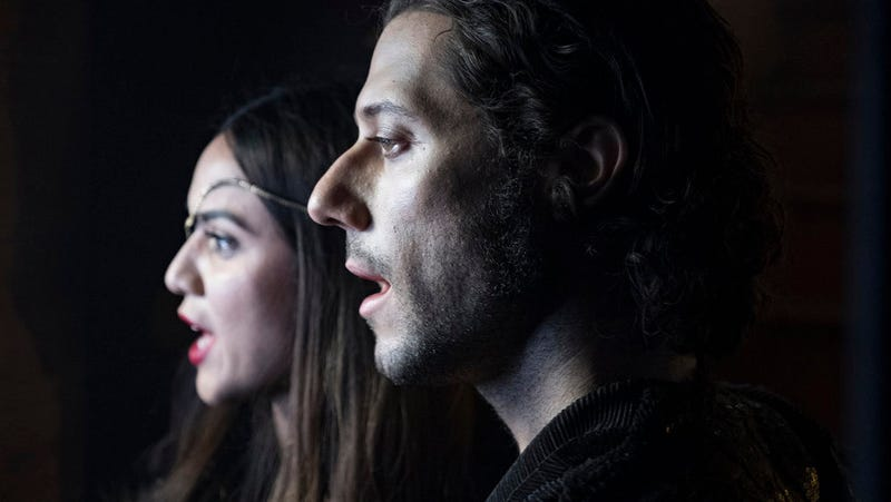 """Margo (Summer Bishil) and Eliot (Hale Appleman) burst into song during the season 3 musical episode, """"All That Josh."""""""