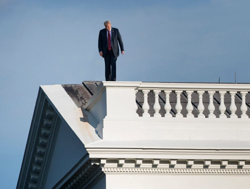Illustration for article titled Trump Teeters On White House Ledge Weighing Pros And Cons Of Killing Self Right Now To Distract From McCain's Funeral