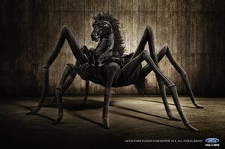 Illustration for article titled Brazilian Ford Fusion Ad Features Scary SpiderHorse