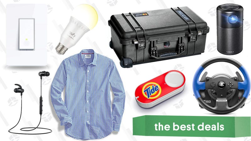 Illustration for article titled Tuesday's Best Deals: Portable Projector, Dash Buttons, Men's Shirts, and More