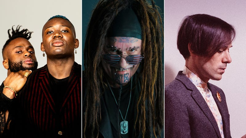 Kayus Bankole and Alloysious Massaquoi of Young Fathers (Photo: Julia Noni), Al Jourgensen of Ministry (Photo: Phil Parmet), and Kevin Barnes of Of Montreal (Photo: Ebru Yildiz)