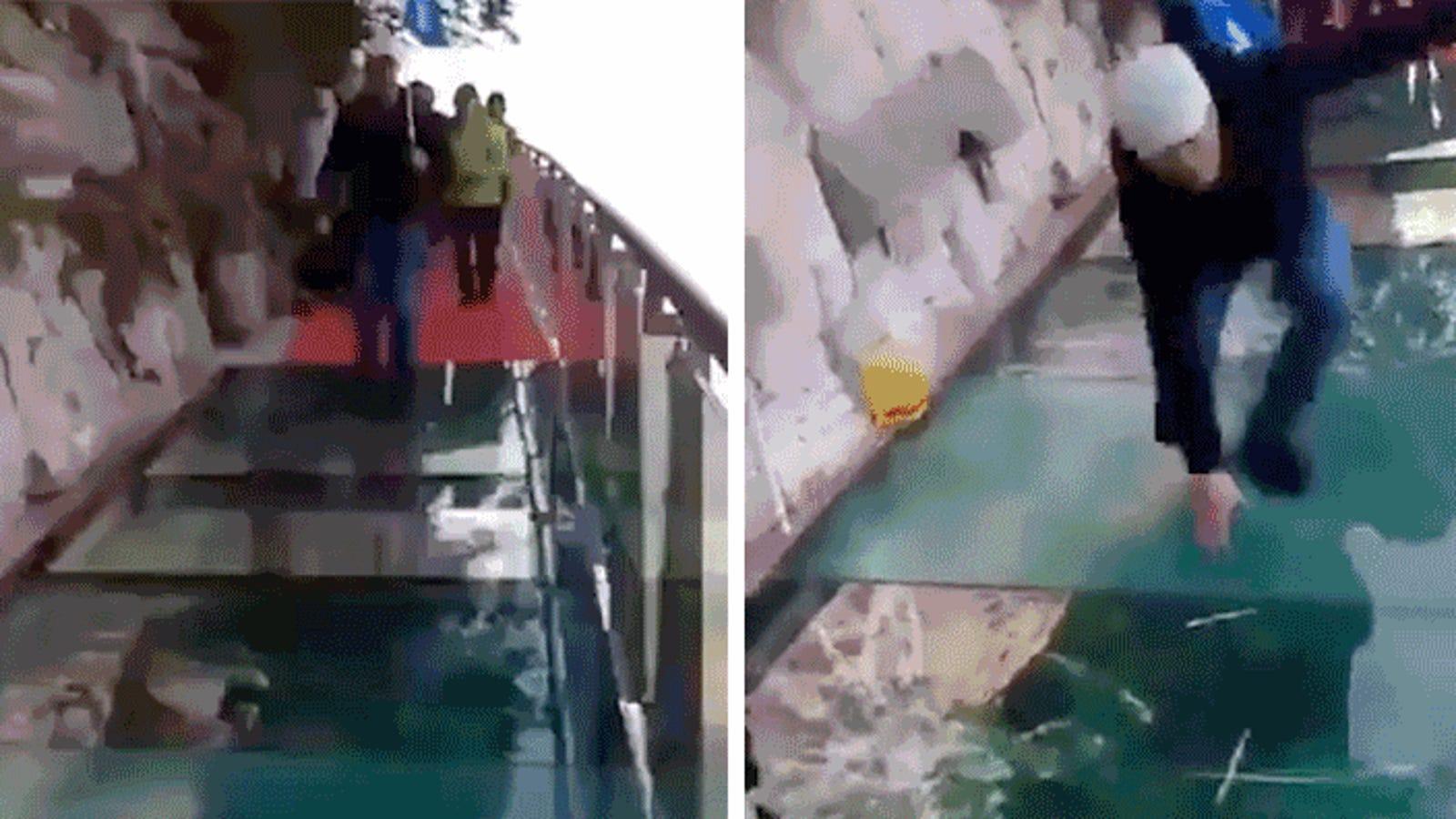Una pantalla transparente para la broma más cruel: simular roturas en una pasarela de cristal a mil metros de altura