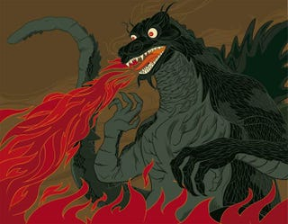 Illustration for article titled Destroy All Boring Art, With Godzilla