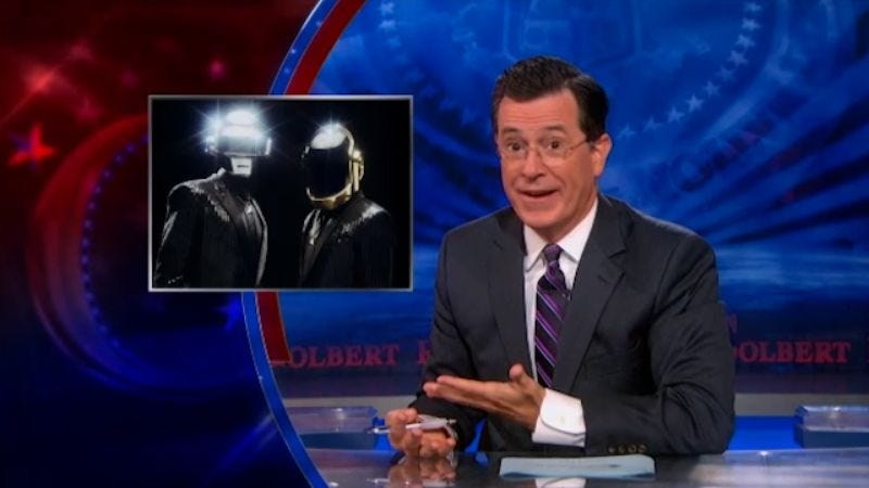 Illustration for article titled Stephen Colbert slams sites like Pitchfork for asserting his Daft Punk slight was just a stunt