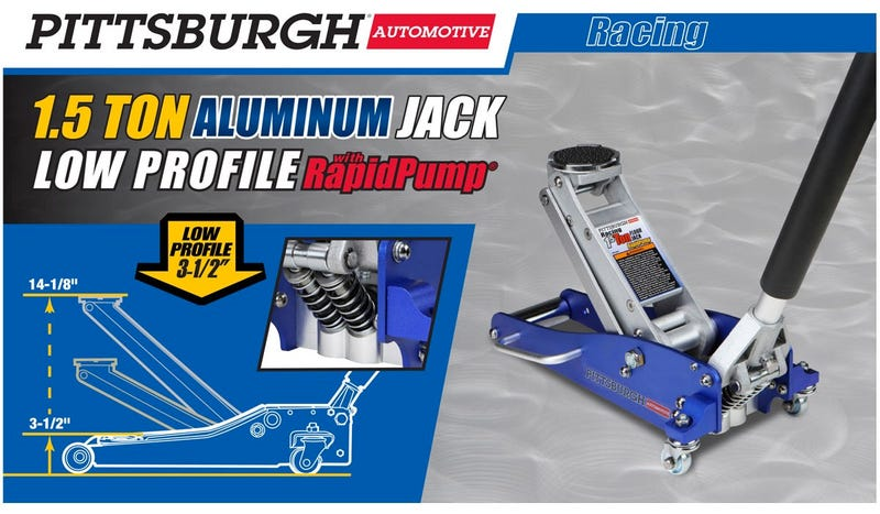 Illustration for article titled Harbor Freight 1.5 ton low profile aluminum mini floor jacks are on sale for 60 bucks
