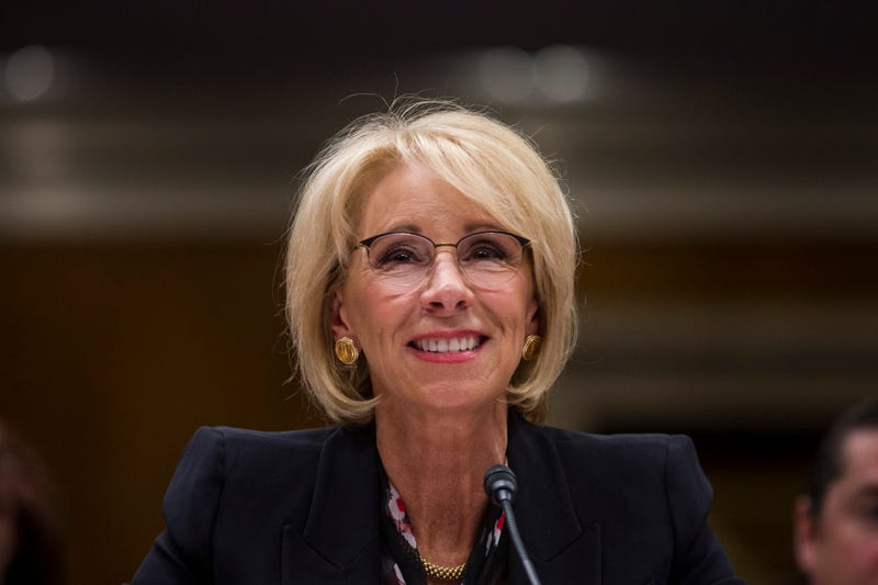 Secretary of Education Betsy DeVos testifies during a Senate Labor, Health and Human Services, Education and Related Agencies Subcommittee discussing proposed budget estimates and justification for FY2020 for the Education Department on March 28, 2019 in Washington, DC.
