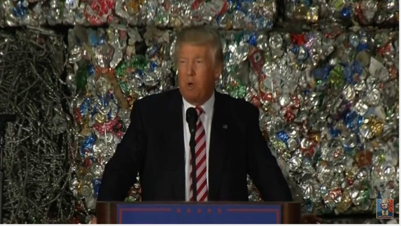Illustration for article titled Donald Trump Gives Speech in Front of Mighty Wall of Trash