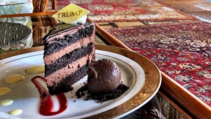 Honestly, the chocolate cake at Mar-A-Lago does look pretty good