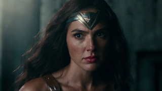 Wonder Woman, wary for battle.