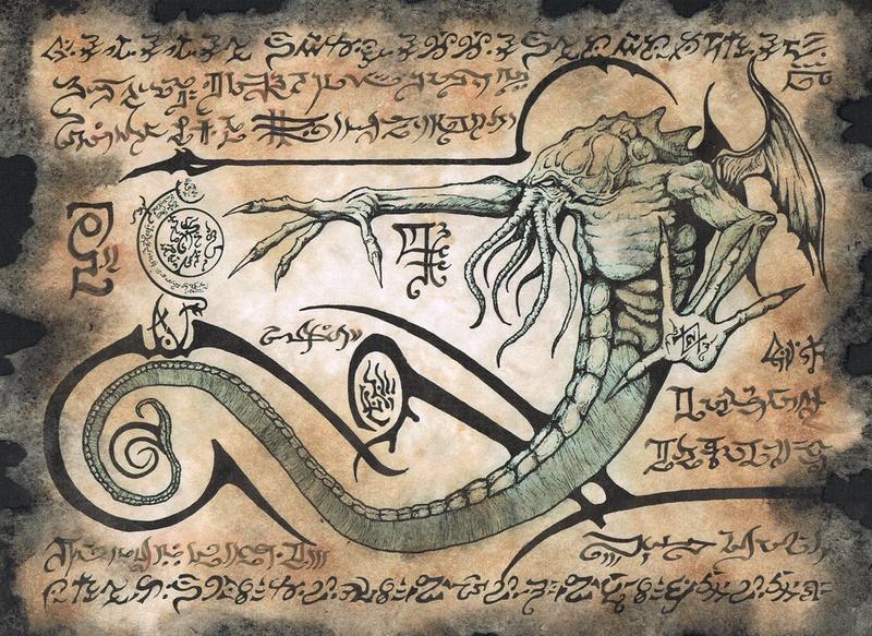 Ilustración moderna recreando el libro mágico imaginado por Lovecraft. Foto: Lovecraft Wiki