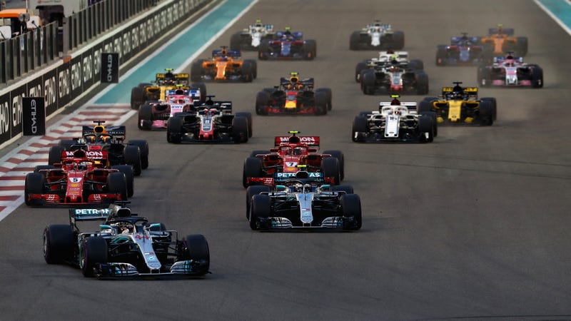 Lewis Hamilton leads at Yas Marina Circuit.