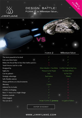 Illustration for article titled Form 2 Sex Toy vs. Millennium Falcon