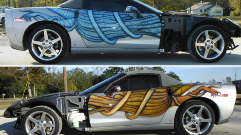 Illustration for article titled Someone Spent Loads Of Money Making This Corvette Ugly, Then Crashed It