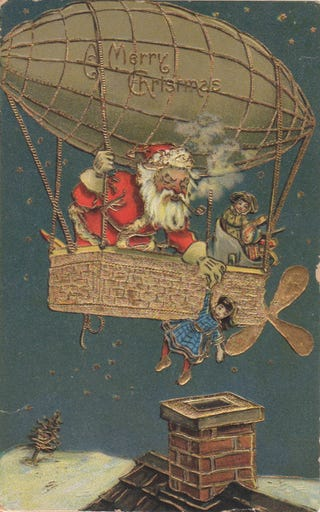 Illustration for article titled Santa Claus Builds A Flying Machine