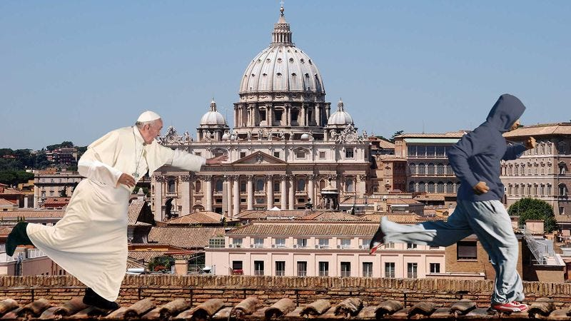 Illustration for article titled Pope Francis Pursues Sinner Across Vatican City Rooftops