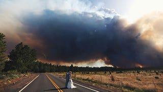 Illustration for article titled Couple Uses Raging Wildfire as Backdrop for Wedding Photos