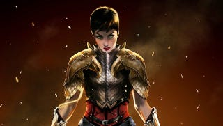 Illustration for article titled Short-haired, armored Wonder Woman is ready for battle