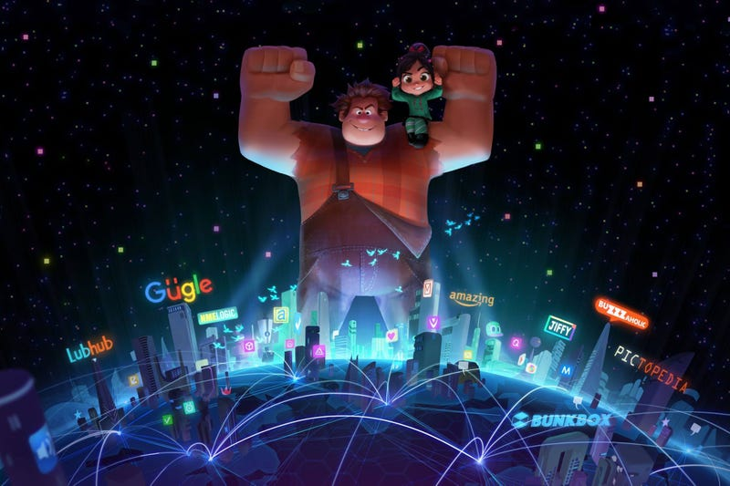 An early glimpse of the untitled sequel to Wreck-It Ralph. It'll feature Ralph breaking the internet. Image: Disney