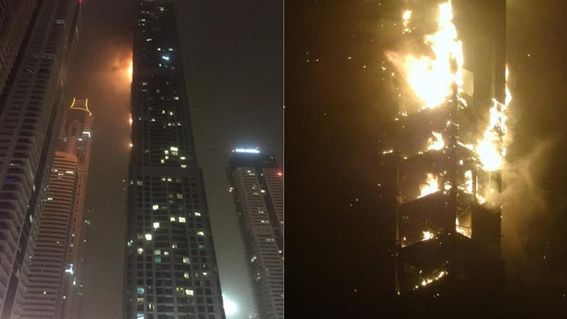Illustration for article titled A 79-Story Residential Tower in Dubai Is on Fire
