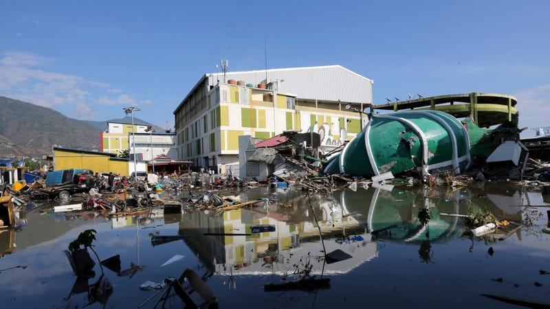 The flooded ruins of a shopping mall in Palu on September 30.