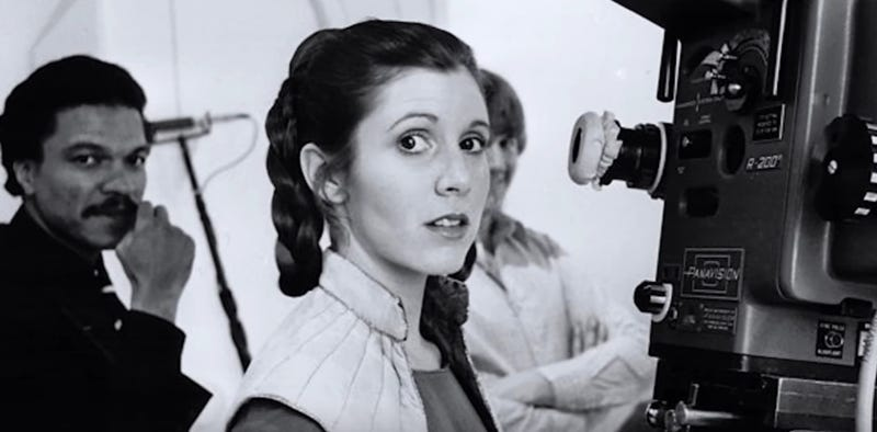 Carrie Fisher on the set of Empire Strikes Back. Image: YouTube