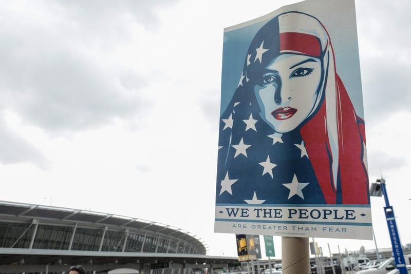 The scene at JFK Airport on Saturday. Photo via Getty.