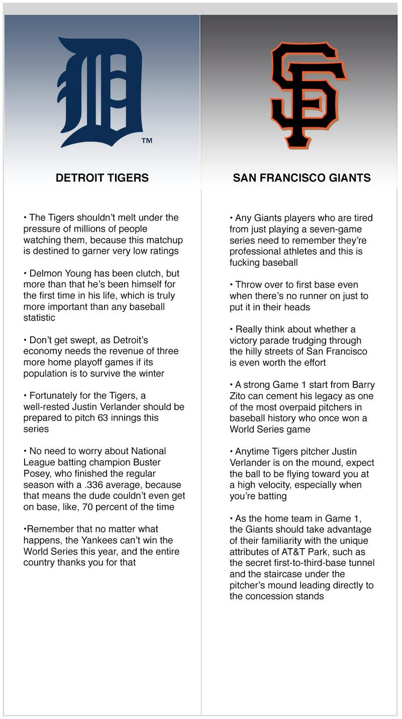 Illustration for article titled World Series 2012: Tigers vs. Giants