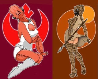 Illustration for article titled Darth Vader, Admiral Ackbar and Boba Fett re-imagined as sexy pin-up girls