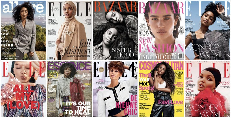 (Clockwise from top left: Angela Bassett on Nov. Allure; Halima Aden on Oct. Elle Middle East; TK Wonder (l) and Cipriana Quann on Nov. Harper's Bazaar Nederland; Zoe Kravitz on Oct. Harper's Bazaar; Yara Shahidi on Nov. Elle UK; Halima Aden on Nov. Elle UK; Ciara on Nov. Cosmopolitan; Mila van der Horst on. Nov. Elle Netherlands; Tessa Thompson on Nov. Essence; Raven Lyn on Oct. Elle Mexico.