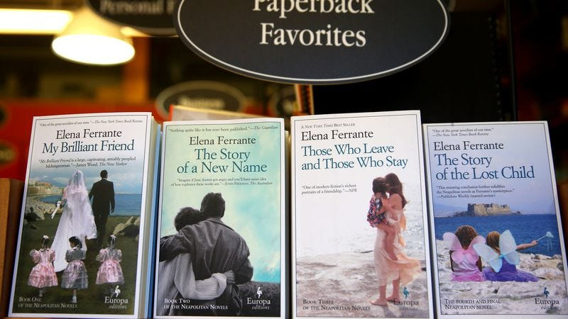 A display of Elena Ferrante novels at the Harvard Book Store. (Photo: Jonathan Wiggs/The Boston Globe via Getty Images)