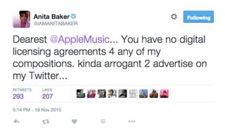 Anita Baker's tweetTwitter