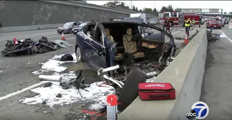 The scene of the Tesla Model X crash.