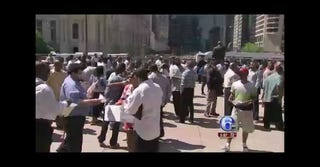 Huge response shuts down city's ex-offender job fair. (ABC News screenshot)