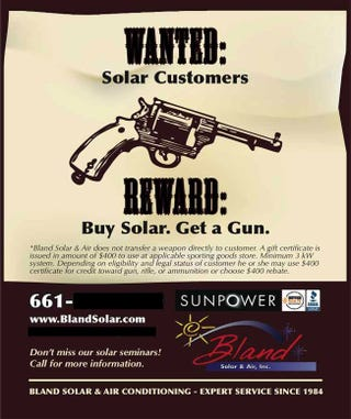 Illustration for article titled Buy Solar Power, Get a Free Gun!