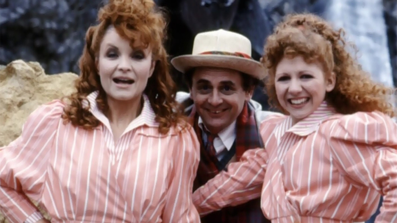 """The Doctor sees double (ostensibly) in a photoshoot for """"TIme and the Rani,"""" Sylvester McCoy's debut story as the Doctor."""