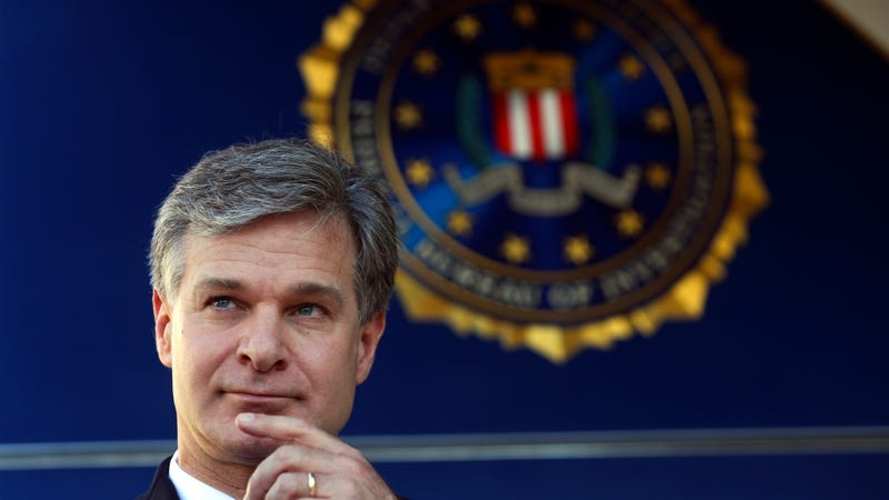 FBI Director Christopher Wray shown before speaking to reporters during a dedication ceremony for the new Atlanta Field Office building Thursday, Oct. 12, 2017, in Atlanta.