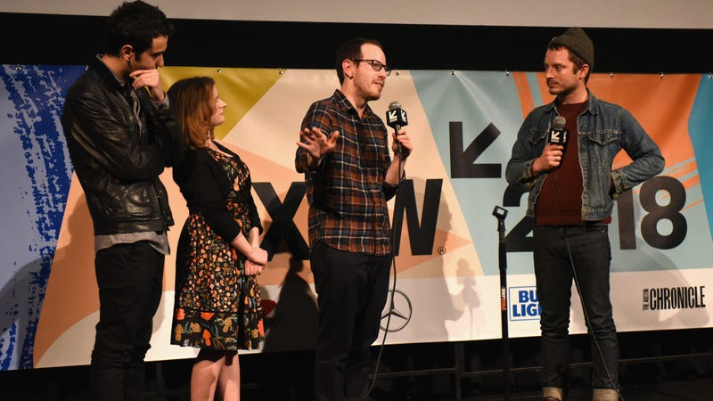 Wood interviewing the cast and director of Hereditary at SXSW