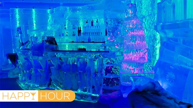 Interior of the Minus 5 Ice Bar at Mandalay Bay in Las Vegas. Everything inside is made of ice, right down to the glasses. (Images: Minus 5)