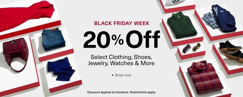 20% off on select clothes, shoes, jewelry, watches, and more