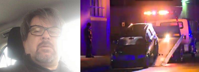 Jason Dalton's Uber profile picture (left), Dalton's car being towed away via Wood TV-8