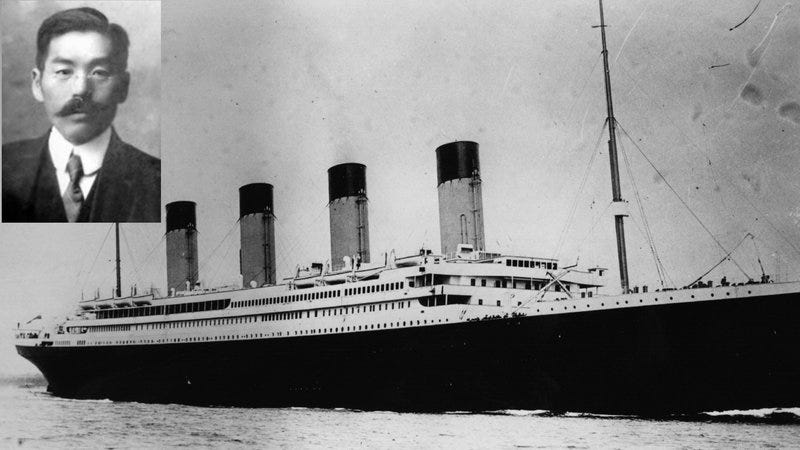 A photograph of Masabumi Hosono from 1912 (Photo: Wikipedia/public domain); the Titanic (Photo: Central Press/Getty Images)