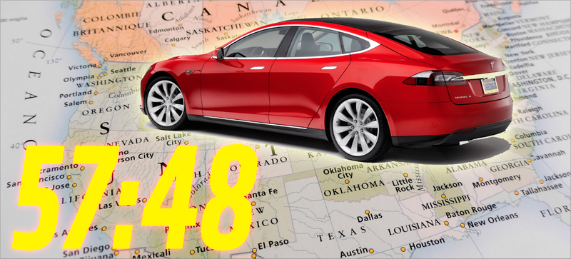 Illustration for article titled We Set A Cross-Country Record In A Tesla That Drove Itself