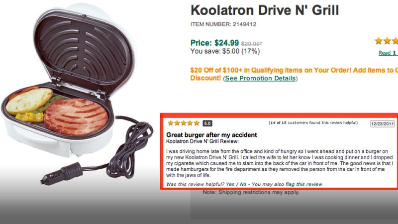 Illustration for article titled The Greatest Review Of An In-Car Grill Ever