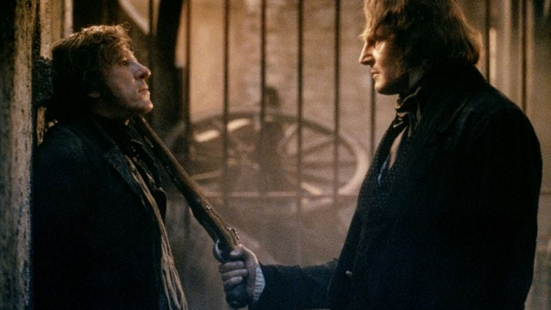 Geoffrey Rush and Liam Neeson in the 1998 non-musical adaptation of Les Misérables
