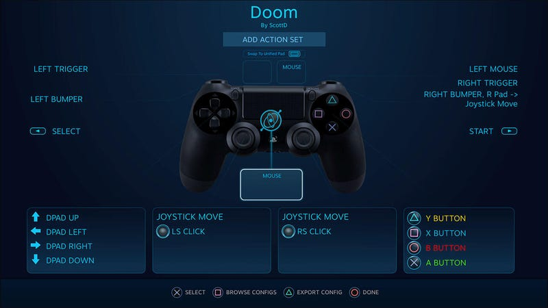 What input for the PS4 controller looks like through the Steam API. Imagine via Lars Doucet.