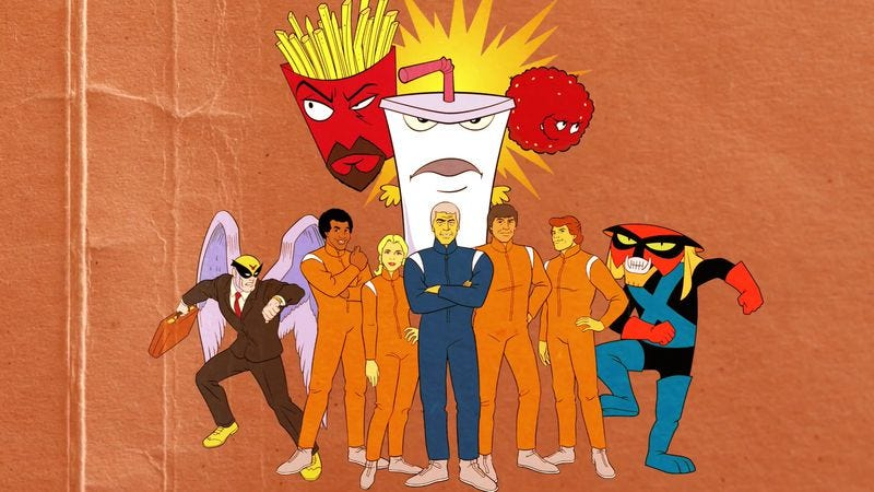 Illustration for article titled Watch this trippy thumbnail history of basic cable's affably bizarre Adult Swim