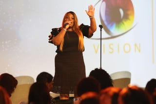 Gospel musician Tasha Cobbs performs for attendees at the Odyssey Network Business Retreat at the Ritz-Carlton Amelia Island in Fernandina Beach, Fla.Courtesy of Odyssey Media