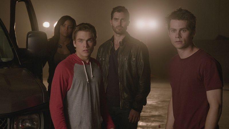 Meagan Tandy (left), Dylan Sprayberry, Tyler Hoechlin, Dylan O'Brien